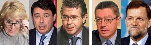Aguirre, González, Granados, Gallardón y Rajoy.