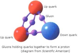 gluones uniendo quarks proton